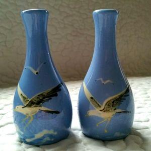 Vintage Blue Seagull Ceramic Enamel Salt & Pepper